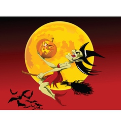 Witch and pumpkin vector image