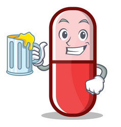 with juice pill capsule cartoon character vector image