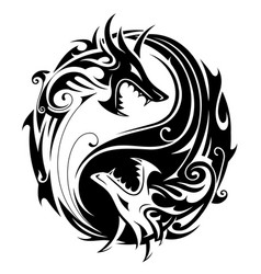 Yin yang dragons vector
