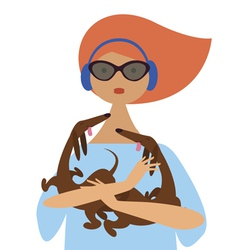 Young fashionable girl with dachshund vector