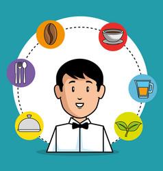 young waiter cartoon vector image