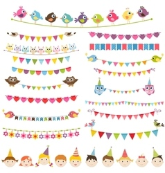 Colorful flags garlands set and kids vector