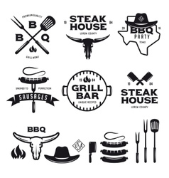 Set of barbecue steak house grill bar labels vector