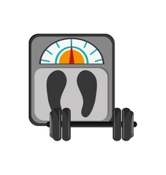 Weight scale and dumbbell icon vector