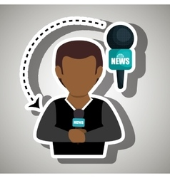 Man journalist news microphone vector