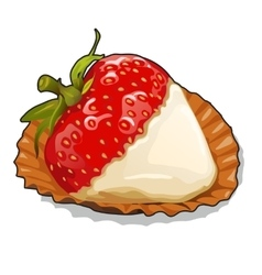 Ripe strawberries with cream on plate closeup vector