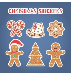 Christmas gingerbread cookies stickers set vector