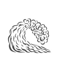 Blue wave logo design surfing silhouette vector