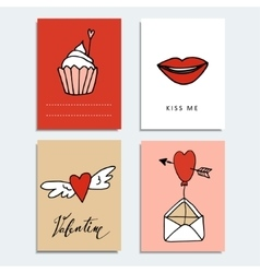 Set of cute hand drawn valentines day cards love vector