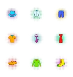 Clothing icons set pop-art style vector