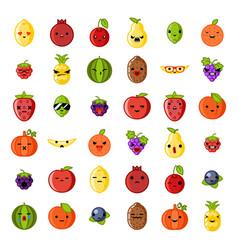 cute emoji smile fresh fruit apple cherry vector image