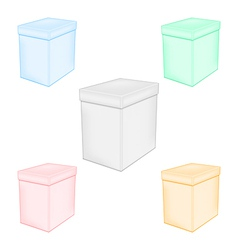 Group colorful closed unprinted boxes vector image