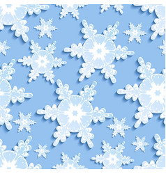 Seamless pattern with blue - white 3d snowflake vector