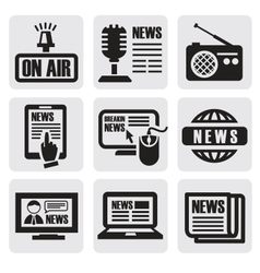 Newspaper media icons vector