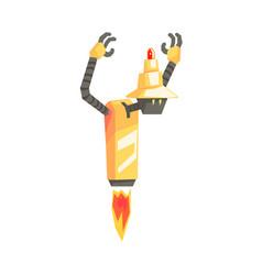 Funny cartoon robot character with booster taking vector