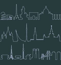 Rome moscow and tokyo profile lines vector