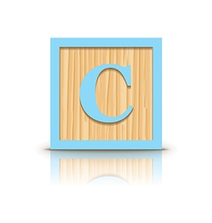 Letter c wooden alphabet block vector