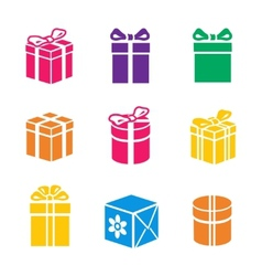 set of colorful gift box vector image