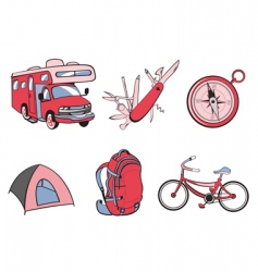 outdoor and camping icons vector image
