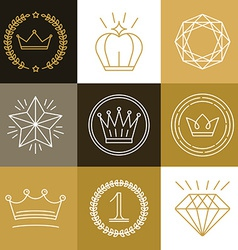 Set of linear gamification badges vector