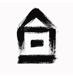 Grunge brush house vector