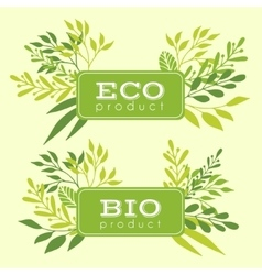 Set of eco and bio floral stickers banners vector image