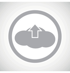 Grey cloud upload sign icon vector