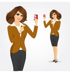 Bank representative holding a credit card vector