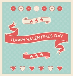 Valentines day design elements and background vector