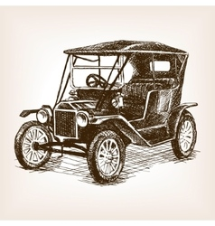 Retro car hand drawn sketch vector