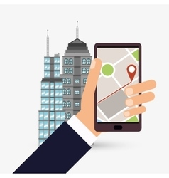 Gps design building icon isolated vector