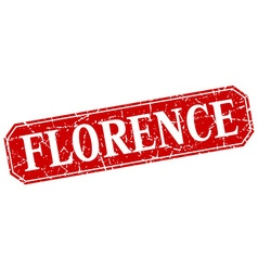 Florence red square grunge retro style sign vector