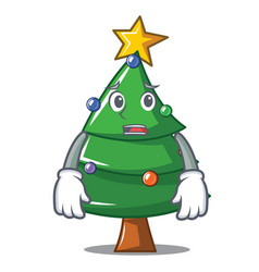 Afraid christmas tree character cartoon vector