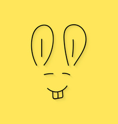Black thin line rabbit muzzle vector