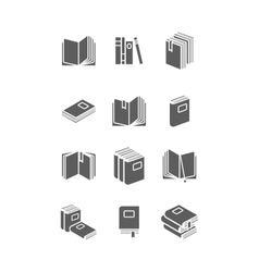 Books icon set for library design vector image