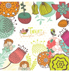 Bright background with flowers vector