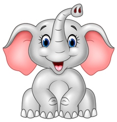 Cartoon cute baby elephant isolated vector