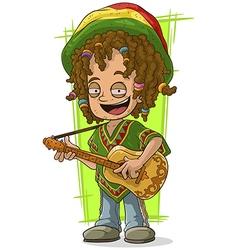 Cartoon happy Rastaman with guitar vector image vector image