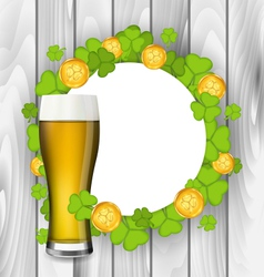 Celebration card with glass of light beer vector image vector image