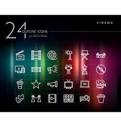Cinema and movie outline icons set vector