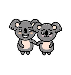 Cute couple koala wild animal with beautiful vector