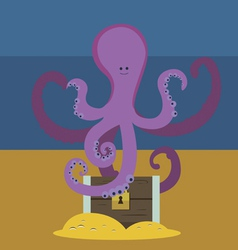 Cute octopus and chest with gold vector