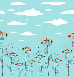 cute summer floral seamless strip vector image