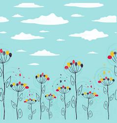 Cute summer floral seamless strip vector
