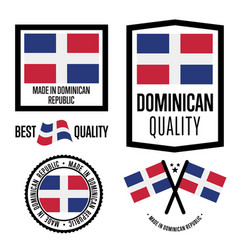 Dominican republic quality label set for goods vector