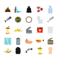garbage icon set flat style vector image