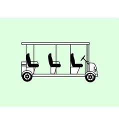 Golf white car several passengers vector