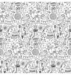Happy birthday hand drawn seamless pattern vector image