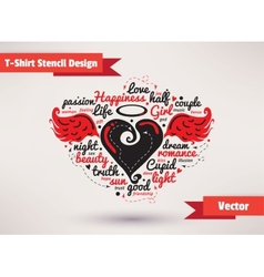 Heart with wings T-Shirt Stencil Design vector image