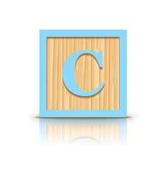Letter c wooden alphabet block vector